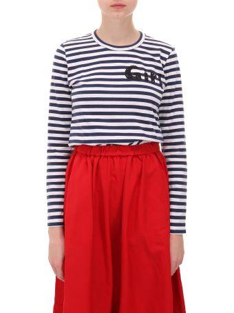 Comme Des Garçons Girl Navy And White T-shirt