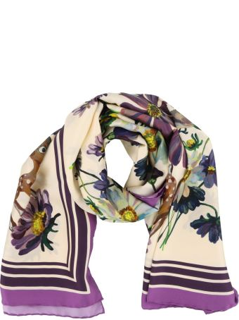 Gucci Fawn And Flowers Print Silk Shawl
