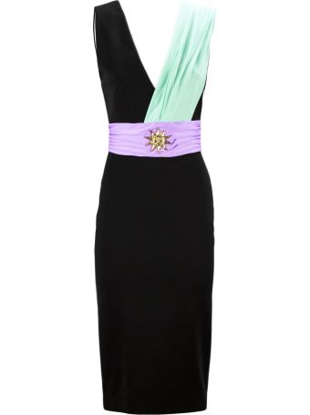 Fausto Puglisi Black, Blue And Lilac Sash Detail Fitted Dress