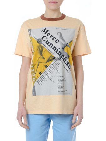 Acne Studios Peach Cotton Printed T Shirt