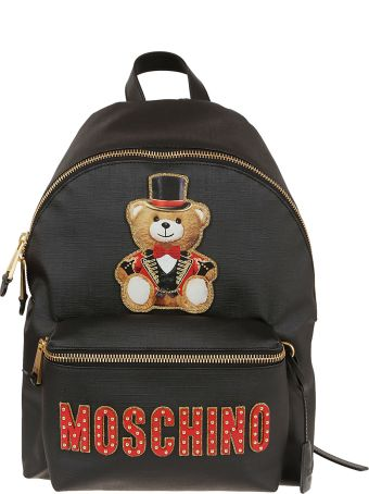 Moschino Bear Patch Studded Logo Backpack