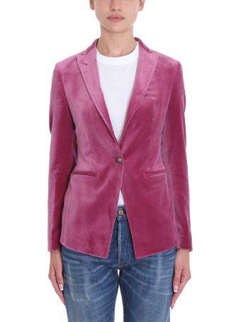 Tagliatore 0205 Gilda Pink Velvet Blazer
