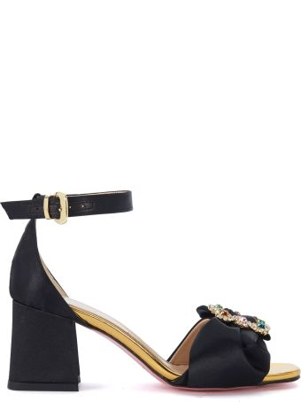 Tipe e Tacchi Black Satin Sandal With Bow And Jewel Buckle