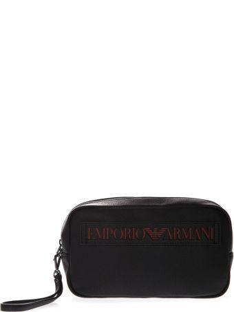 Emporio Armani Beautycase In Black Faux Leather With Maxi Logo