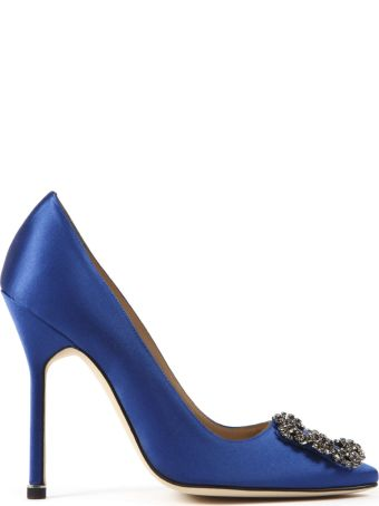 Manolo Blahnik Blue Satin Haginsi Pumps