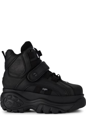 Buffalo 1348 Black Leather High Sneaker