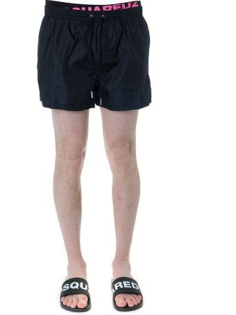 Dsquared2 Black And Fuchsia Logo Print Swim Shorts In Technical Fabric