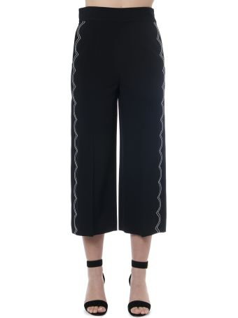 RED Valentino Black Cropped Pants With Contrasting Stitches