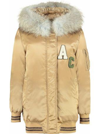 Alessandra Chamonix Constance Hooded Bomber-style Long Down Jacket