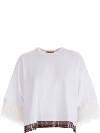 N.21 Fringed Sleeve T-shirt