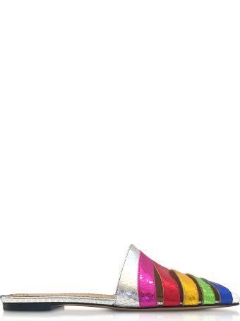 Charlotte Olympia Metallic Snake-print Leather Technicolor Slides