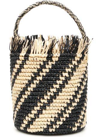 Sensi Studio Striped Wicker Bag