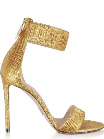 Oscar Tiye Liana Golden Plissè High Heel Sandals
