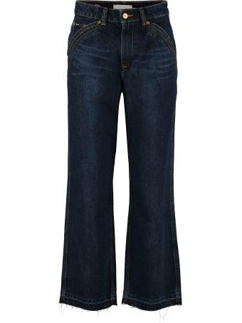 self-portrait High-rise Straight-leg Jeans