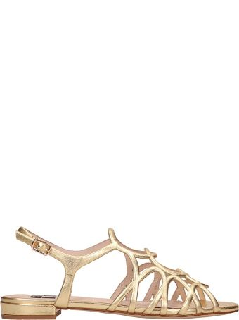 Bibi Lou Gold Leather Flat Sandals