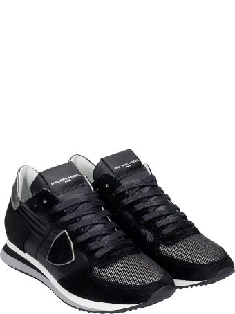 Philippe Model Trpx L Sneakers In Black Suede And Fabric