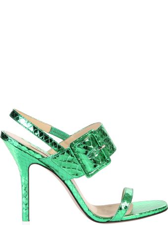ATTICO Snakeskin Print Leather Sandals