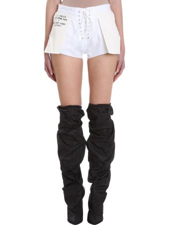 Ben Taverniti Unravel Project Twill Revers Lace Up Denim Cotton Shorts