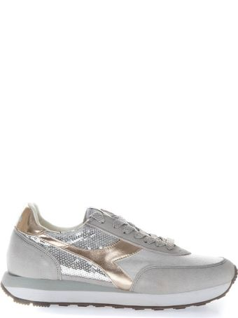 Diadora Heritage Silver Sneakers With Suede Inserts And Sequins Applied