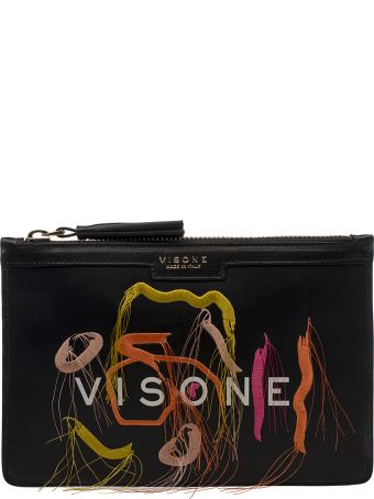 Visone Black Kim Embroidery Leather Clutch
