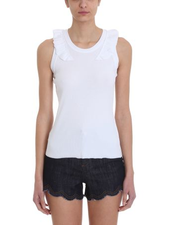 RED Valentino White Ribbed Cotton Topwear