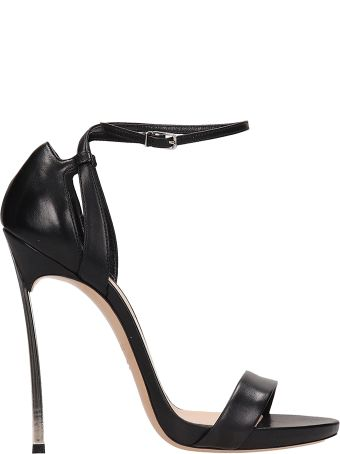 Casadei Black Leather Blade Sandals
