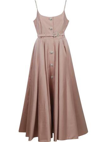 Alessandra Rich Long Sleeveless Belted Dress