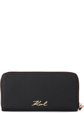Karl Lagerfeld Black And Fuchsia Leather Wallet