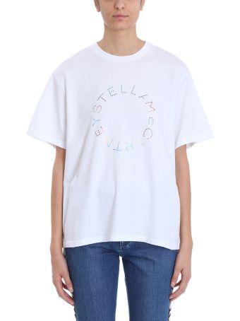 Stella McCartney Crystals Logo White Cotton T-shirt