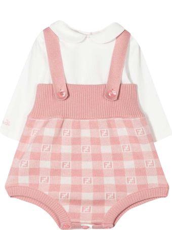 Fendi Pink Shirt And Dungaree Set