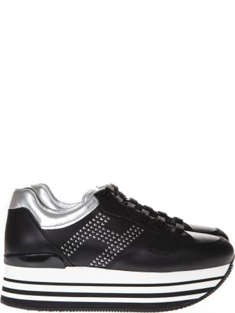 Hogan Black And White Maxi Sneakers H222 In Leather