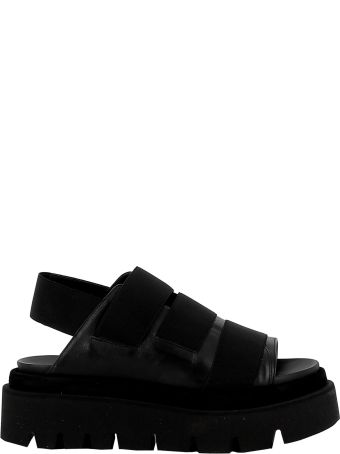 Elena Iachi Black Leather/fabric Sandals