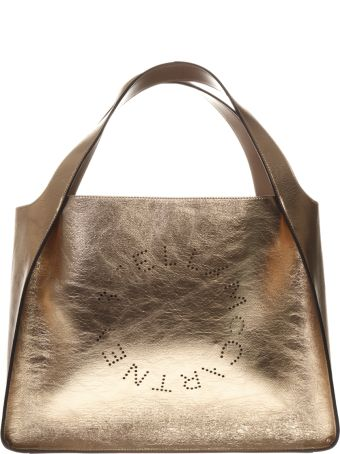Stella McCartney Rose Gold Tote Stella Logo Bag In Laminated Faux-leather