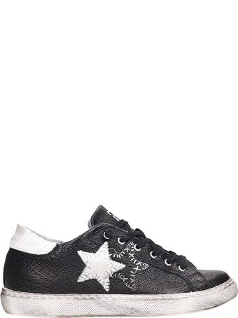 2Star Low Black White Leather Sneakers