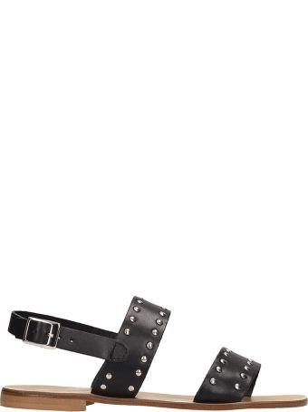 Fabio Rusconi Black Calf Leather Flat Sandals