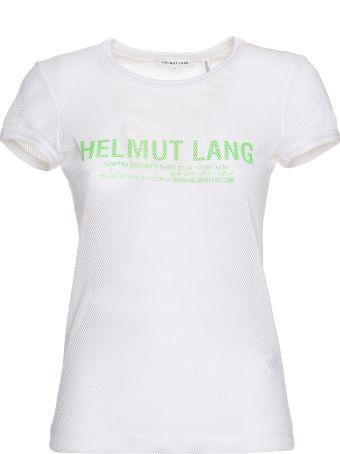 Helmut Lang Sheer Logo Baby Tee In White