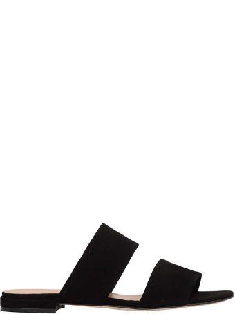 Julie Dee Black Suede Leather Flat Sandals