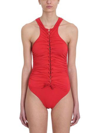 Ben Taverniti Unravel Project Stretch Lace Up Red Cotton Bodysuit