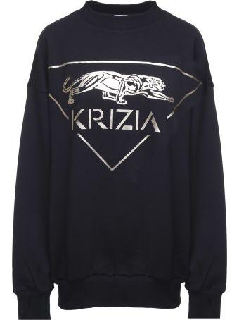Krizia Metallic Panther-print Cotton Oversized Sweatshirt