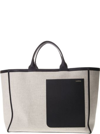 Valextra Natural & Black Canvas & Leather Bag