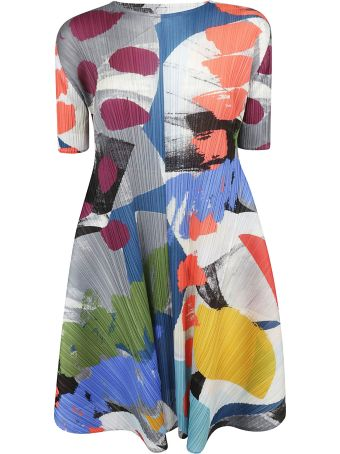 Pleats Please Issey Miyake Crepe Effect Short Length Dress