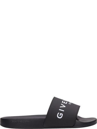 Givenchy Slide Flats In Black Rubber