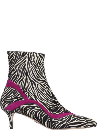 Paula Cademartori High Heels Ankle Boots In Animalier Pony Skin
