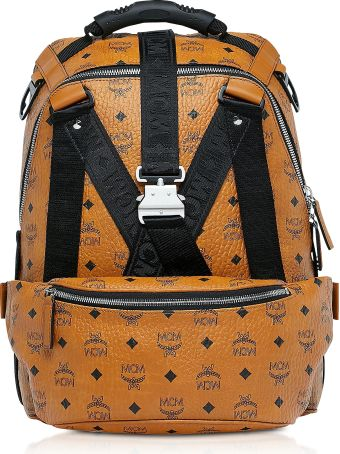MCM Cognac Visetos Jemison Backpack W/detachable Belt Bag