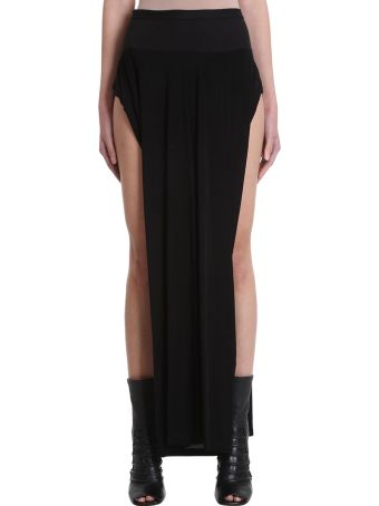 Rick Owens Lilies Black Viscose Skirt