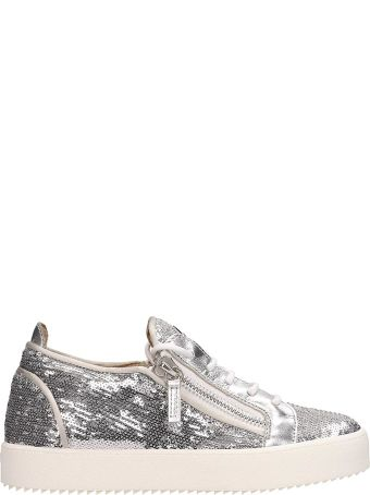 Giuseppe Zanotti Frankie Sequin Silver Sneakers Zipper Detail And Set On A Rubber Logo Sole
