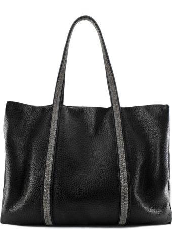 Fabiana Filippi Soft Shoulder Bag In Black Leather