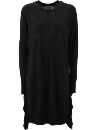 N.21 Long Dress In Black Virgin Wool.