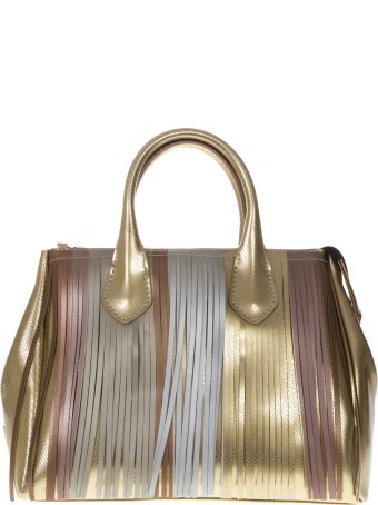 Gianni Chiarini Gold Gum Bag With Multicolored Fringe