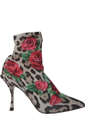 Dolce & Gabbana Leopard And Rose Print Ankle Boots